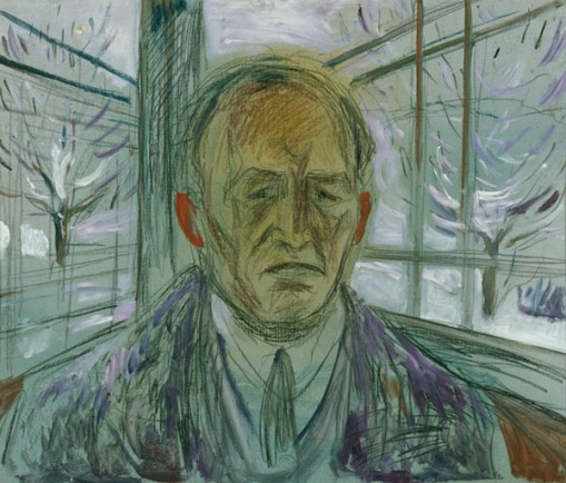 "Edvard Munch, ""Self-Portrait on the Glass Veranda"", 1930-33, Munch Museum, MM M 245, oil and crayon on wooden panel, Munch-museet/Munch-Ellingsen gruppen/BONO"