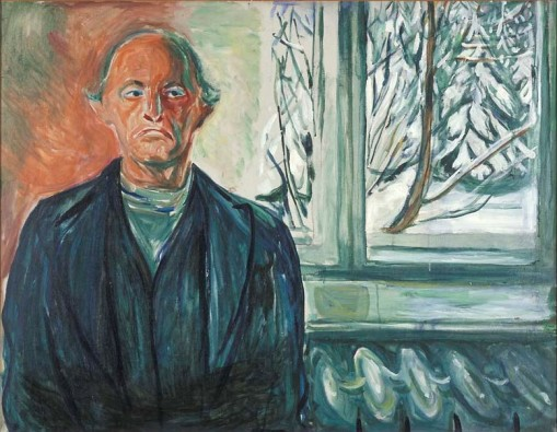 "Edvard Munch, ""Self-portrait on the glass veranda"""