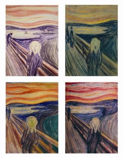"""Fire versjoner av Munchs """"Skrik"""""""