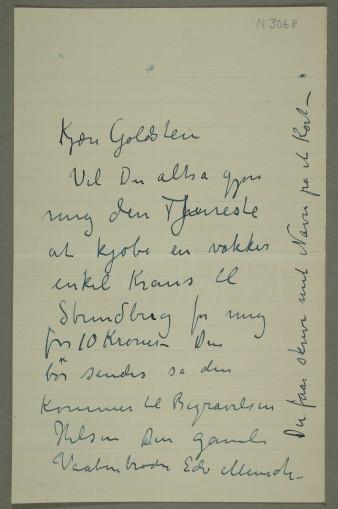 Edvard Munch, brev til Goldstein, Munch-museet, N 3068